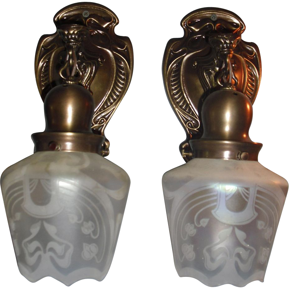 Art Nouveau Brass Sconces w Iridescent Acid Etched Shades