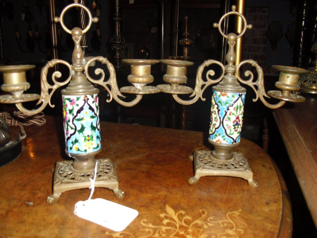 Rare Victorian Brass Double Candlesticks w Longwy Cylinders