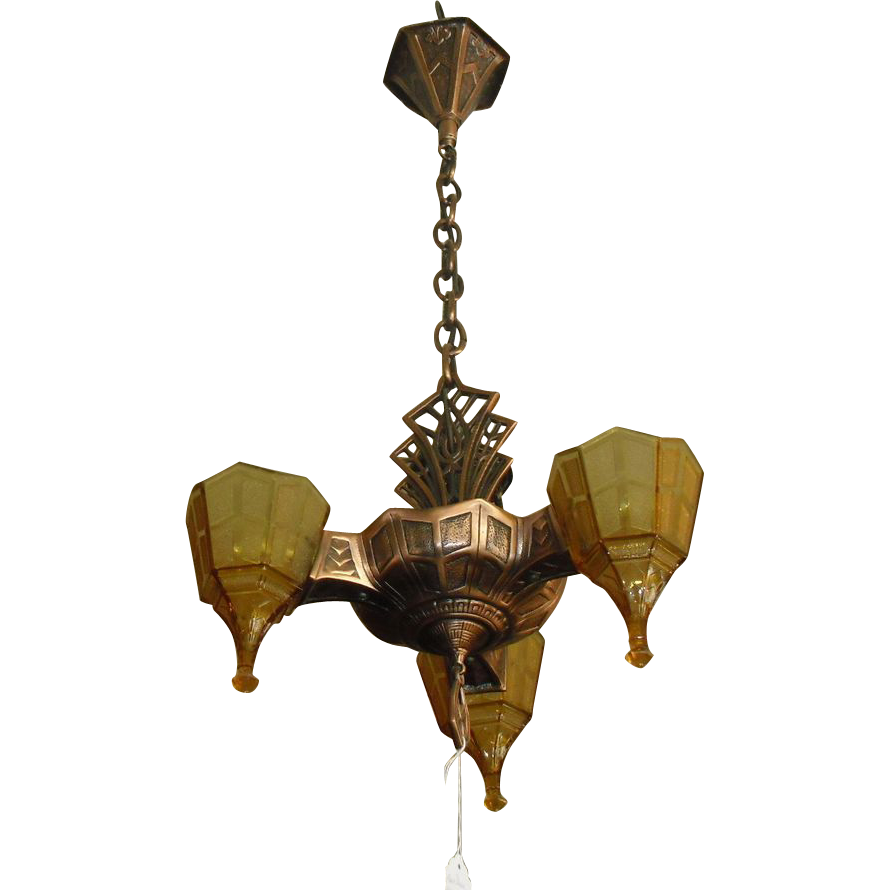 Art Deco 3 Light Slip Shade Chandelier - Original Copper and Black Plating