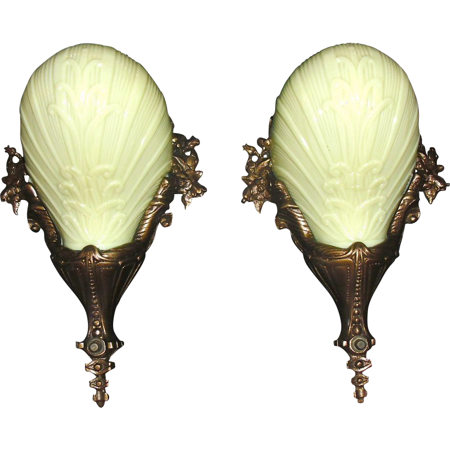 Cast Bronze Art Deco Slip Shade Sconces - Midwest Lighting - 2 pair available