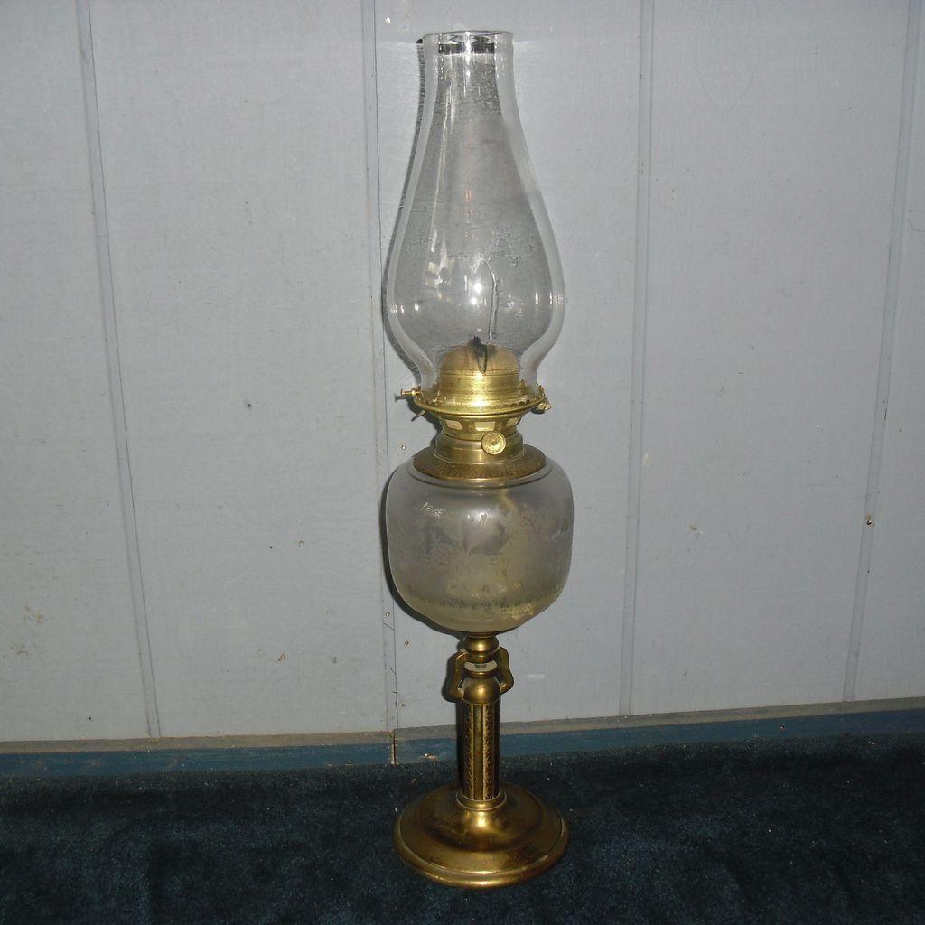 Kerosene Oil Gimbaled Table Lamp/Wall Fixture Combination