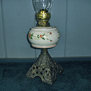 English Victorian Kerosene Oil Lamp w Duplex Burner