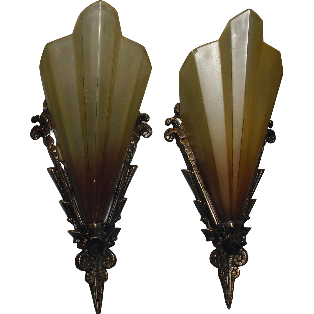 Art Deco Slip Shade Wall Sconces - Midwest Lighting - 2 pair available
