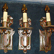 3 Spanish Revival Wrought Iron Wall Sconces