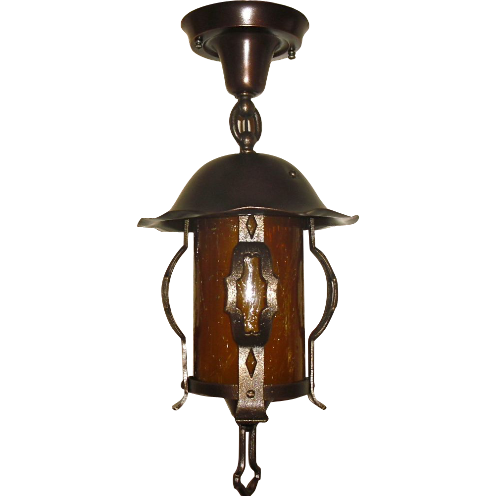 Tudor Porch or Entryway Light - Bronze & Copper
