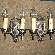 Tudor Cast Brass Double Candle Wall Sconces
