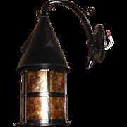 Pair of Tudor Iron with Mica Porch Light Fixtures