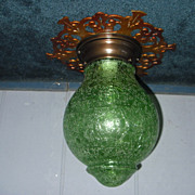Art Deco Ceiling Light Fixture w Green Crackle Glass Shade -2 available
