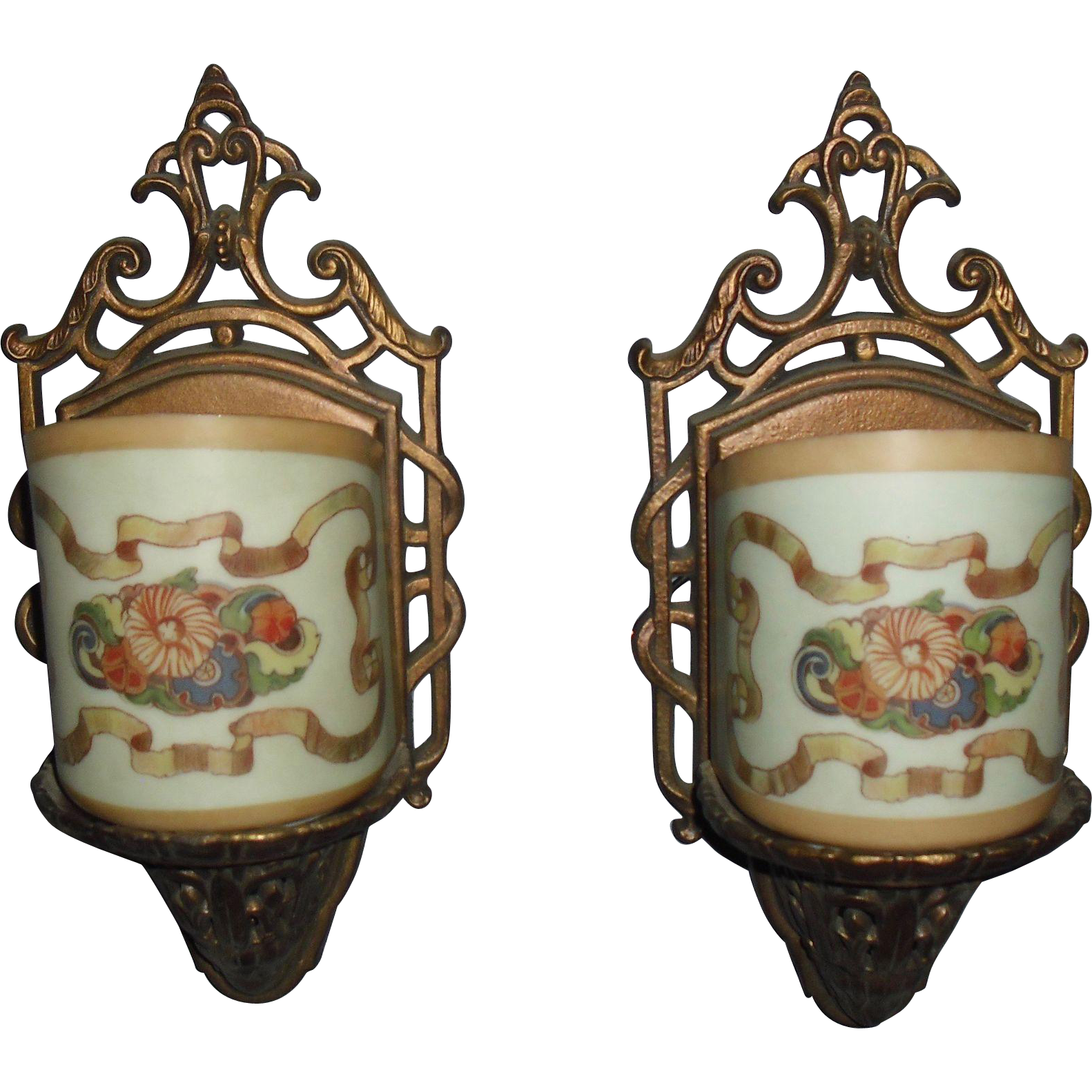 Art Deco Lightolier Wall Sconces with Decorated Glass Shades