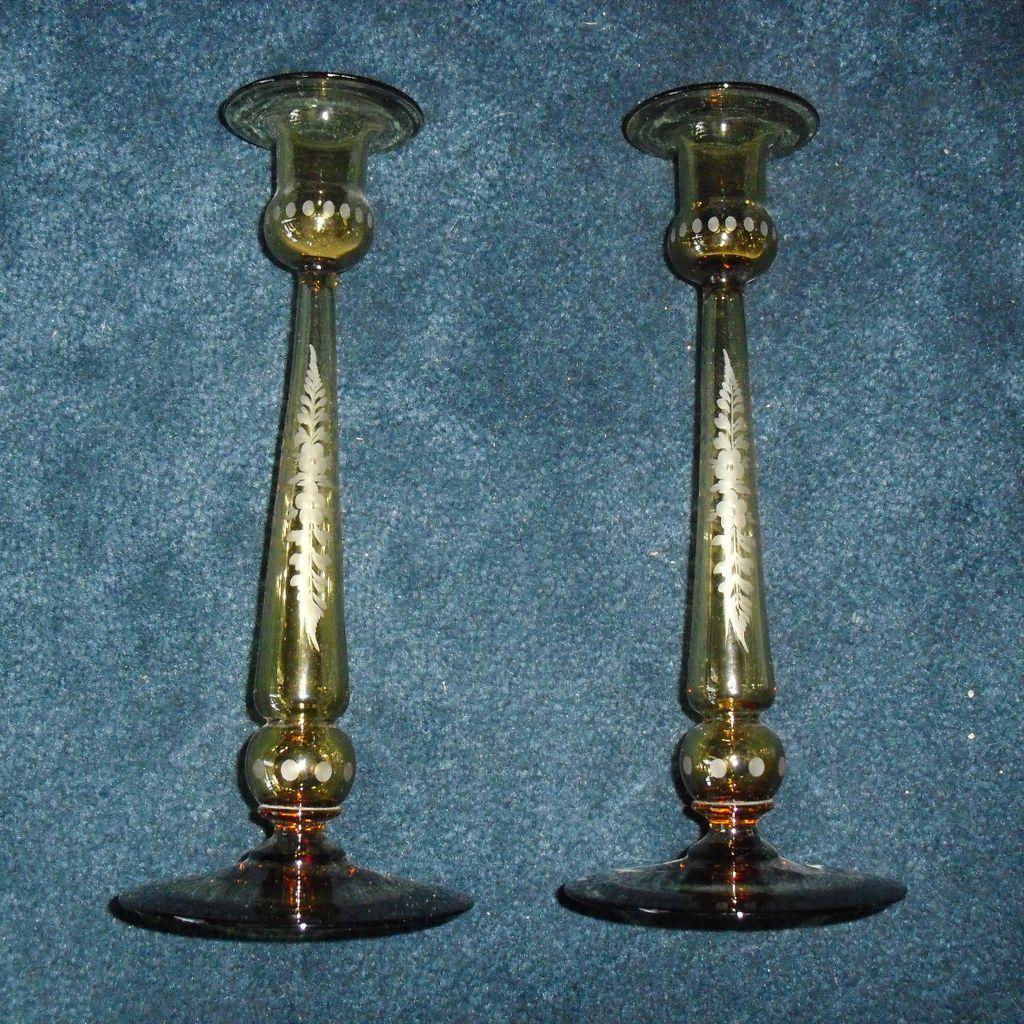 Candlesticks - Art Glass with Copper Wheel Cut