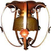 Spanish Revival Flush Mount Ceiling Light Fixture with Amber Crackle Glass Shade