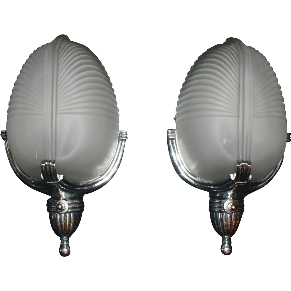 Art Deco Machine Age Wall Sconces - Lightolier -