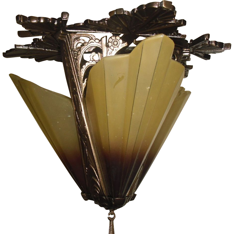 Art Deco Cast Bronze 3 Light Slip Shade Fixture