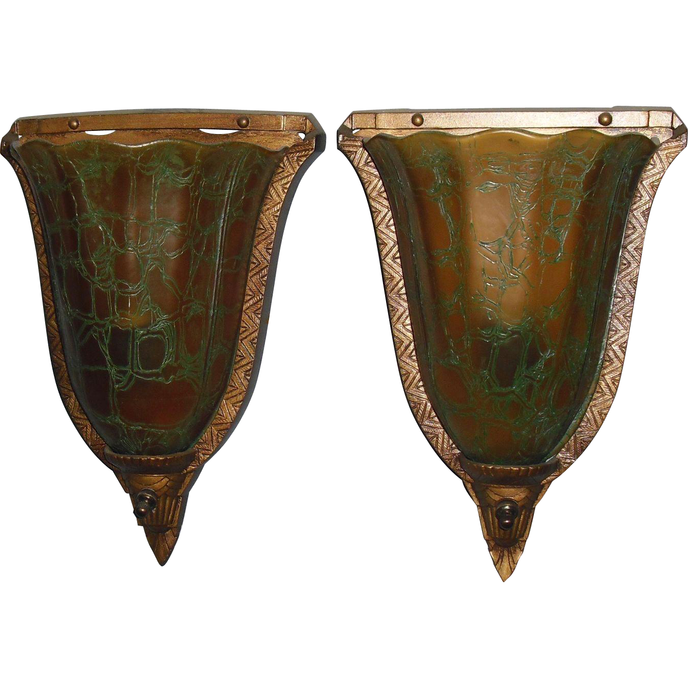 Antique Wall Sconce Glass Shades : Art Deco Slip Shade Wall Sconces - Crackle Glass Shades from sherlocksantiquelights on Ruby Lane