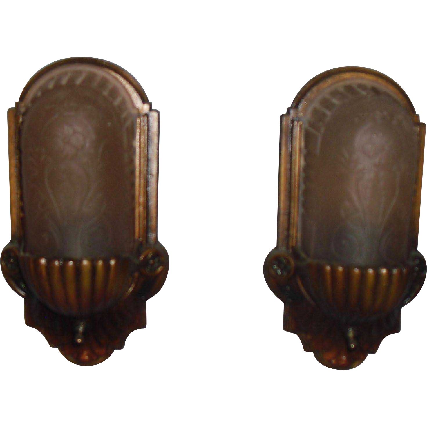 Art Deco Pink Slip Shade Wall Sconces