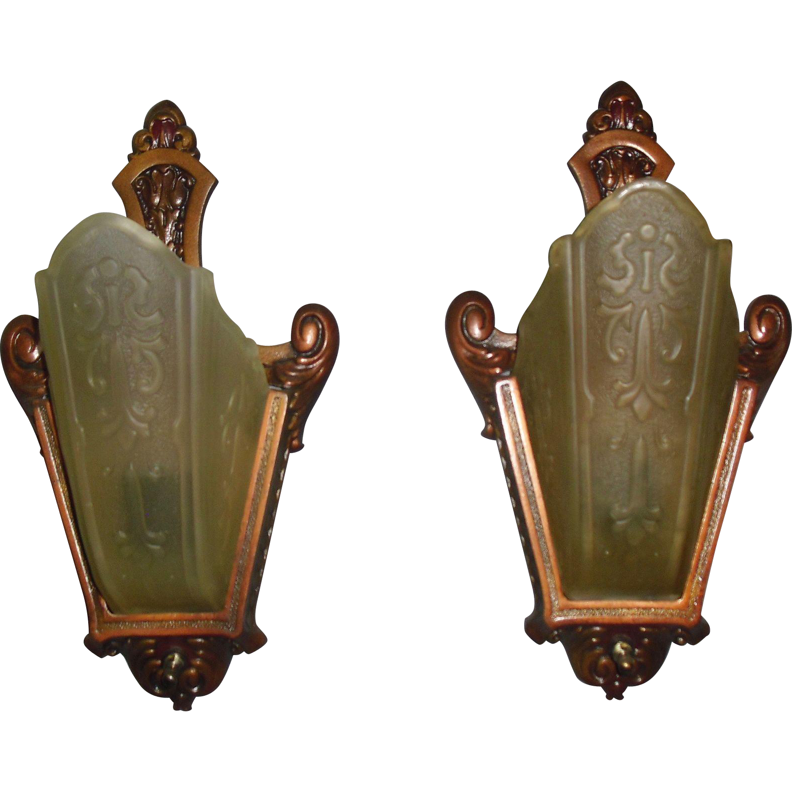 Art Deco Slip Shade Wall Sconces - Moe Bridges - 2 pairs available