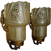 Art Deco Slip Shade Wall Sconces - Lightolier