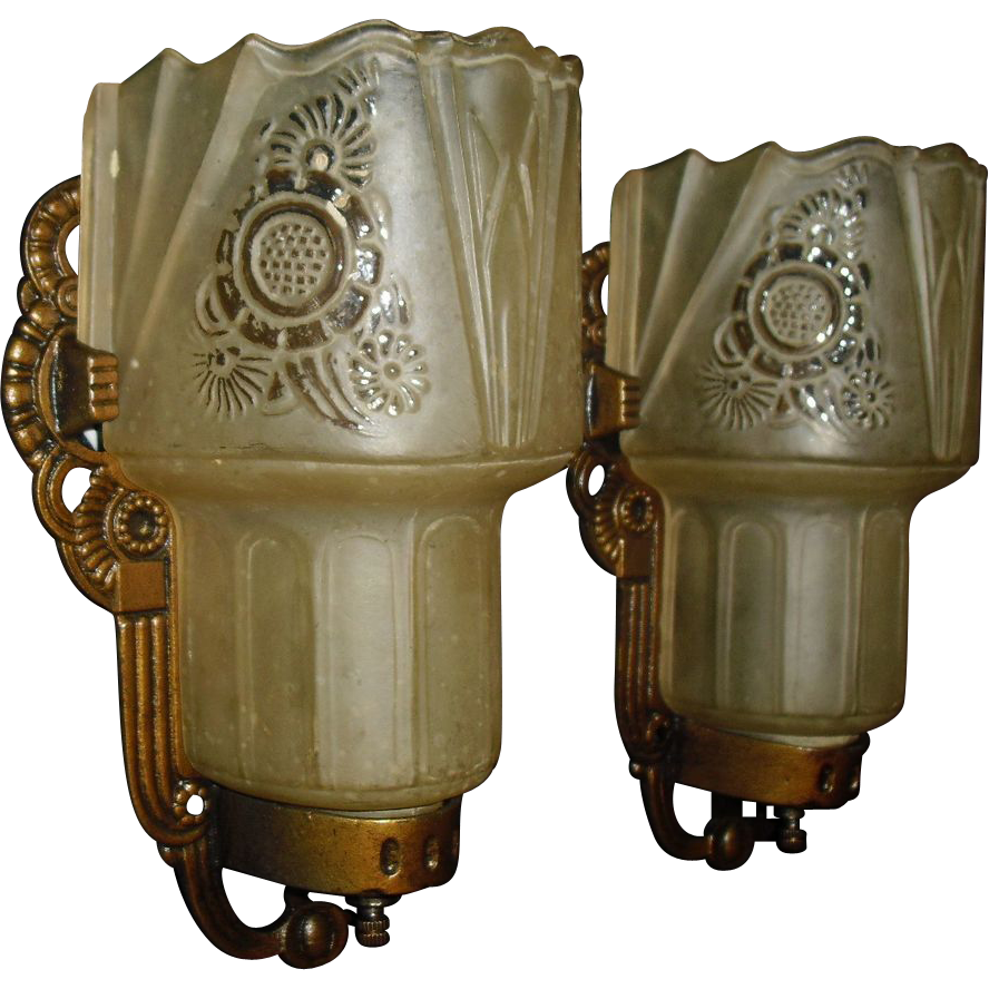 Art Deco Slip Shade Wall Sconces - Lightolier from sherlocksantiquelights on Ruby Lane