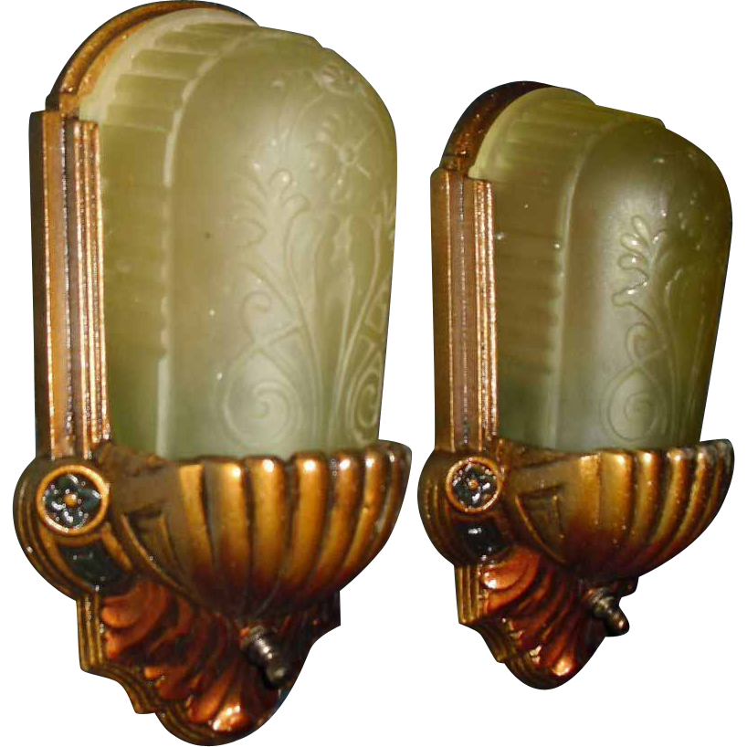 Art Deco Slip Shade Wall Sconces