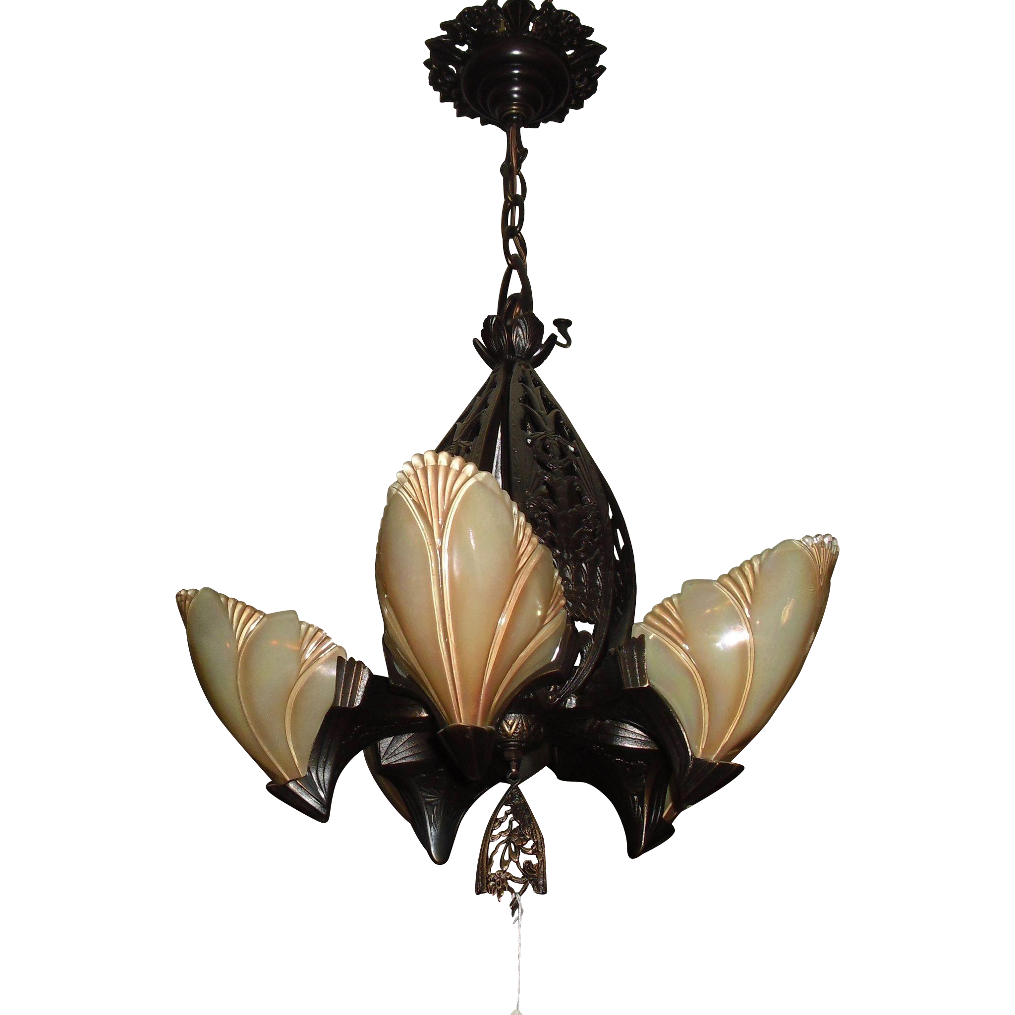 Midwest Lighting Cast Bronze Art Deco Slip Shade Chandelier
