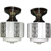 Pair Stylized Art Deco Ceiling Lights in Nickel Fixtures