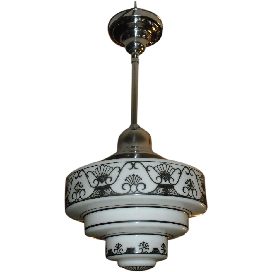 Pair of Art Deco Stylized Pendant Light Fixtures