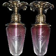 Pair Victorian Flush Mount Ceiling Lights- Art Glass Shades