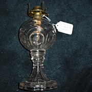 Early Central Bullseye w Scalloped Base Kerosene Oil Lamp