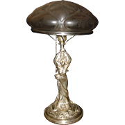Art Nouveau Figural Lady Table Lamp - Silver Plate Finish