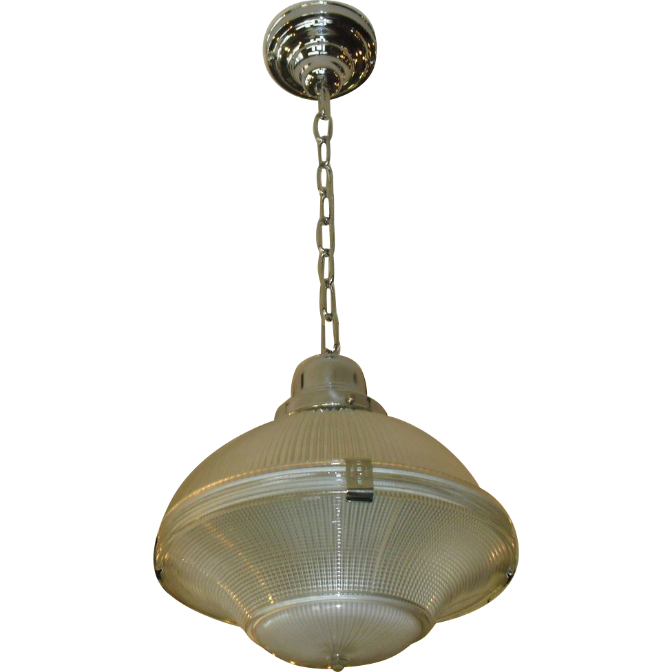Holophane Pendant Light Fixture - 3 Piece Clip Shade