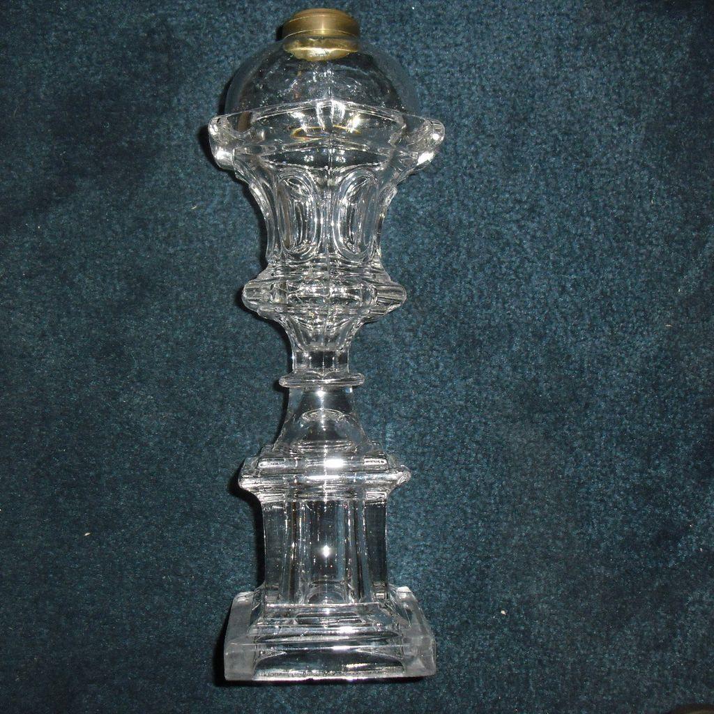 Tall Flint Glass Whale Oil Lamp