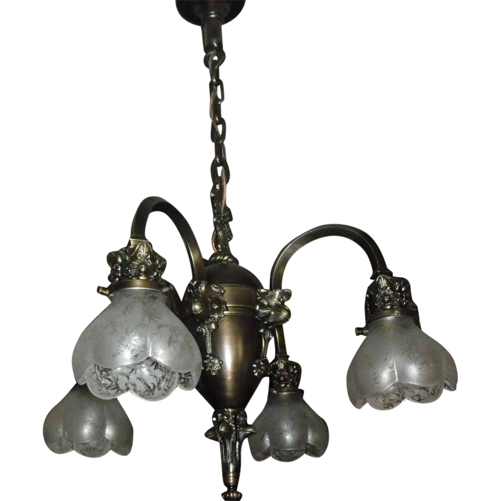 Brass Transitional 4 Light Chandelier - Deep Etched Glass Shades