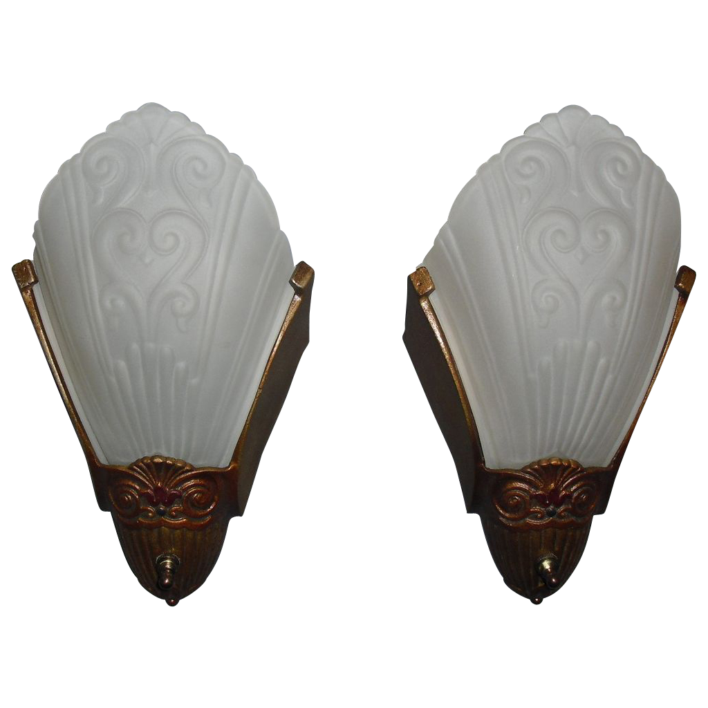 Virden Art Deco Slip Shade Sconces