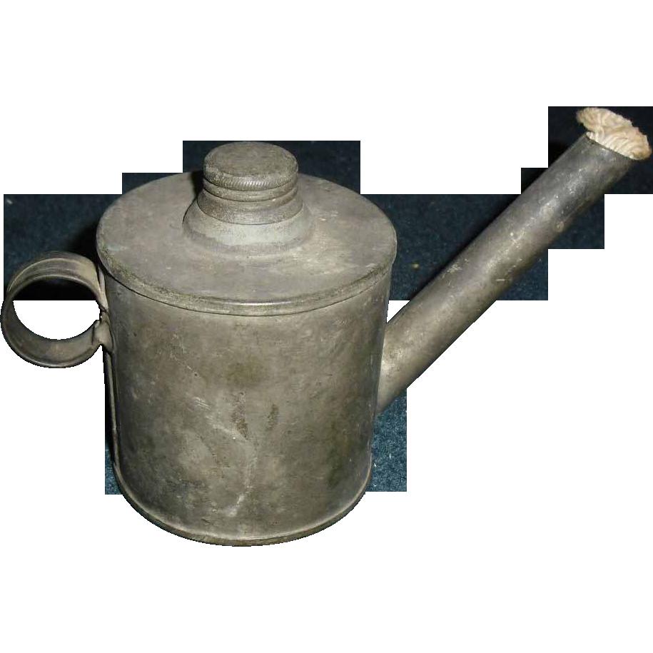 Early Tin Teapot Finger Oil Lamp