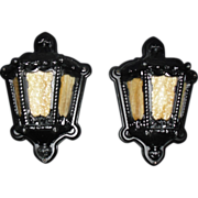 Neoclassical Cast Iron with Caramel Slag Glass Porch Lights
