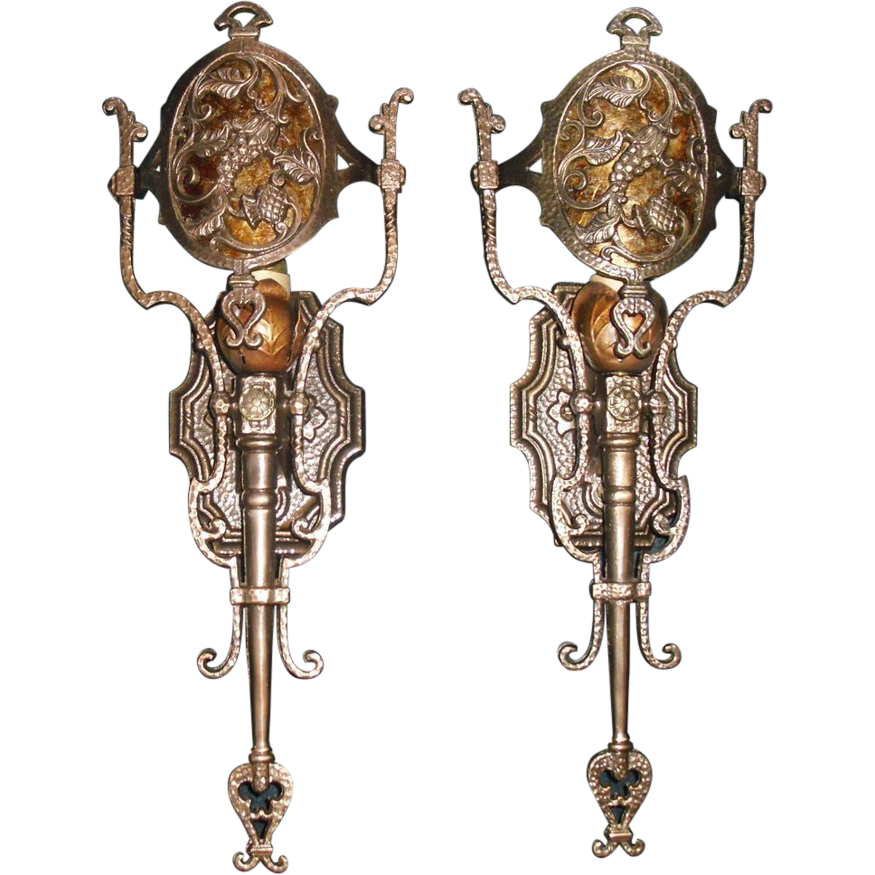 Lincoln Cast Bronze Tudor Sconces w Mica Shields - 2 pairs available
