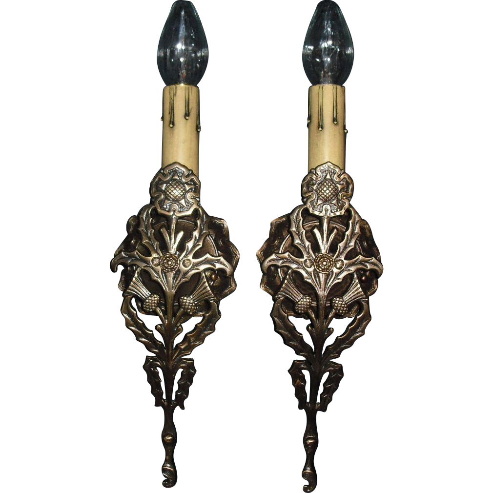 Tudor Cast Brass Single Candle Wall Sconces