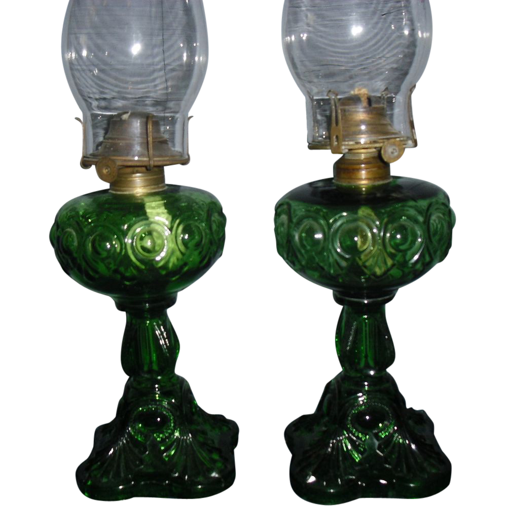 Pair Emerald Green Bullseye Kerosene Oil Lamps