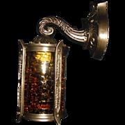 Tudor Cast Bronze Porch Light w Amber Crackle Glass