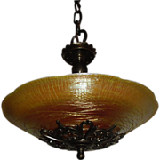 Durand Art Glass Bowl in Fancy Brass 2 Light Pendant