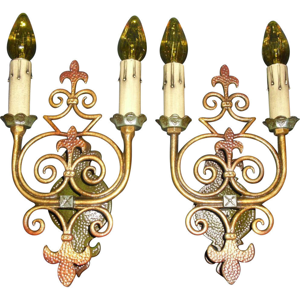 Spanish Revival  Wall Sconces - with Polychrome Finish