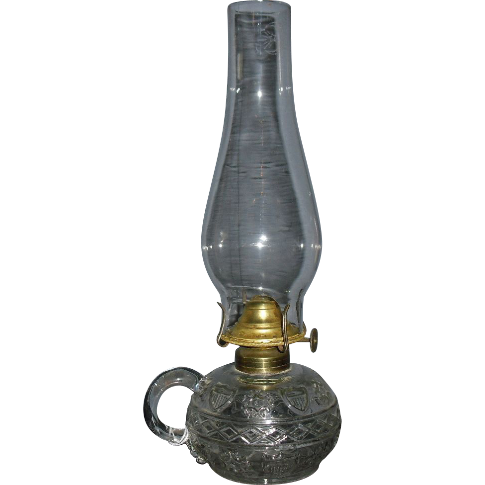 Civil War Period Kerosene Oil Finger Lamp - Diamond Band & Shield