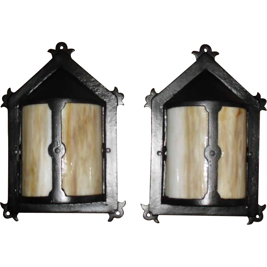 Arts & Crafts Bent Panel Slag Glass Porch Lights