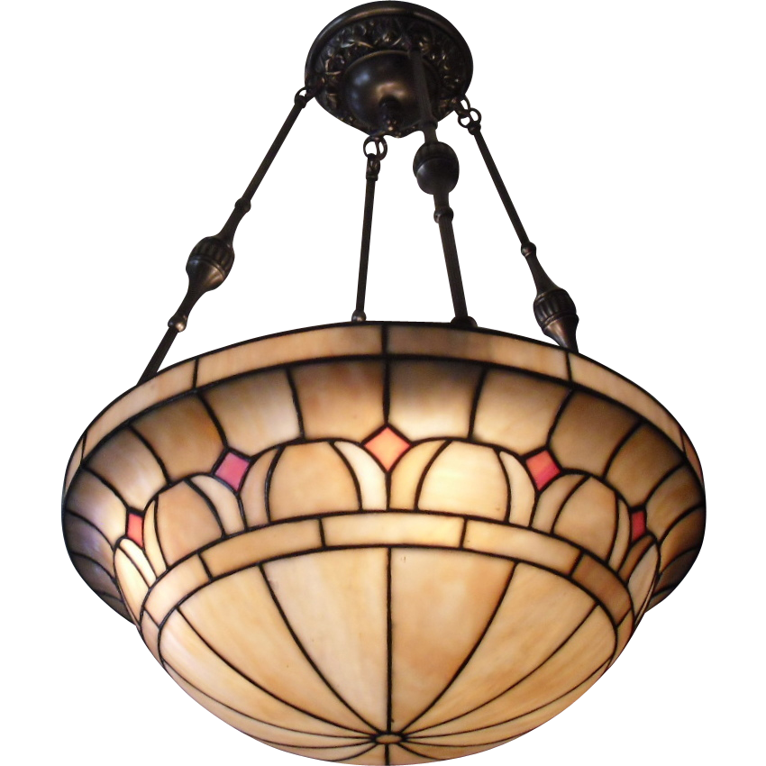 Victorian 4 Light Leaded Glass Lighting Bowl Chandelier from – Bowl Chandelier
