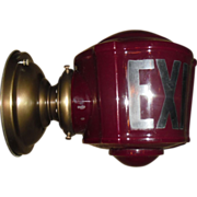 Antique Red Exit Wall Light Fixture