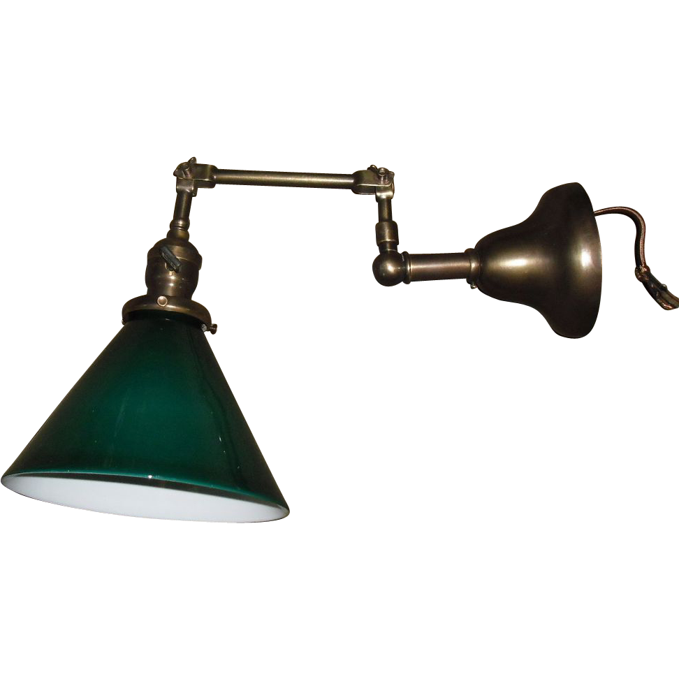 Faries Adjustable Swing Arm Wall Light W Green Cased Shade   2 Available