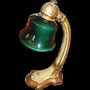Lightolier Adjustable Desk Lamp w Green Cased Glass Shade