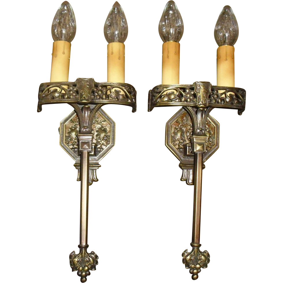 Bronze Wall Sconces For Candles : Tudor Cast Bronze Double Candle Wall Sconces - 2 pairs available from sherlocksantiquelights on ...
