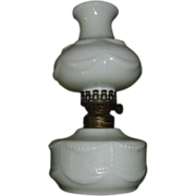 Beaded Opalescent Milk Glass Miniature Kerosene Oil Lamp