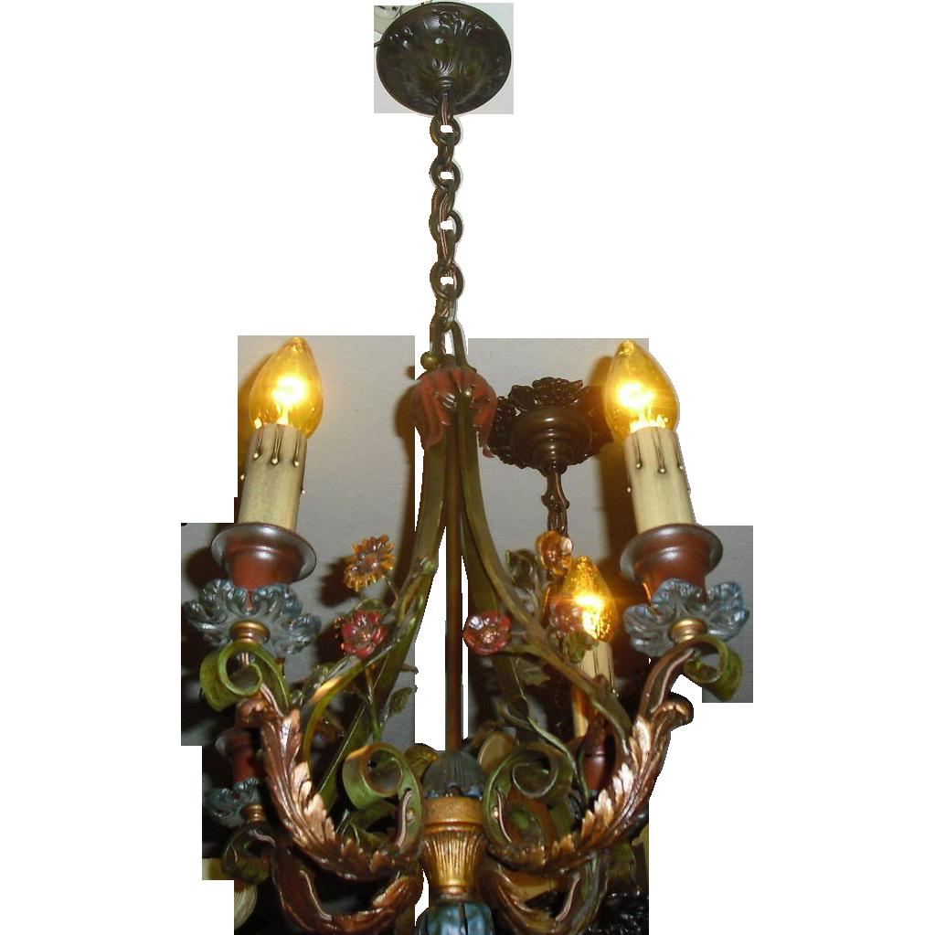 Spanish Revival Iron & Bronze 4 Light Chandelier